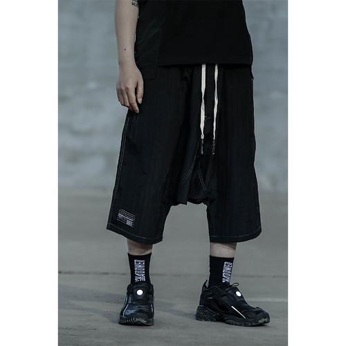 ENSHADOWER隐蔽者轻薄落裆七分裤男潮流宽松黑色吊裆裤休闲短裤夏