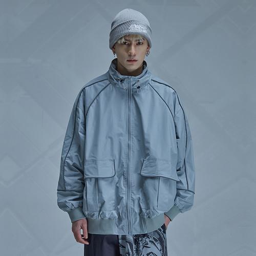 ENSHADOWER隐蔽者国潮反光条拼接教练夹克男黑色休闲宽松外套上衣