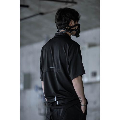ENSHADOWER隐蔽者斜拉链立领口袋短袖T恤男工装潮流宽松上衣体恤
