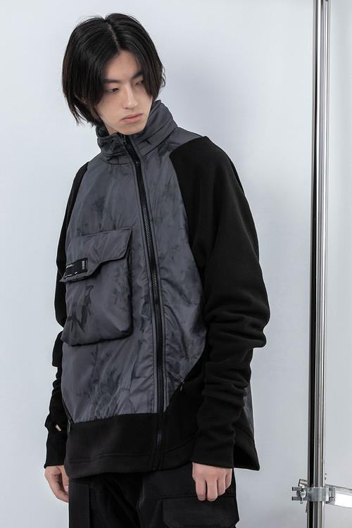 ENSHADOWER隐蔽者潮流拼接摇粒绒夹克宽松连帽外套男冬季休闲上衣