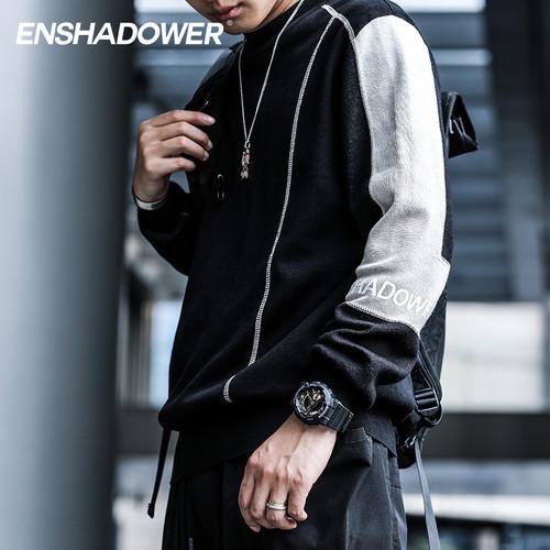 ENSHADOWER隐蔽者低领解构纯棉毛衣男新款潮牌拼接套头针织衫