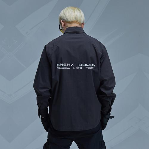 ENSHADOWER隐蔽者春新款黑色衬衫男宽松长袖上衣分割异形口袋衬衣