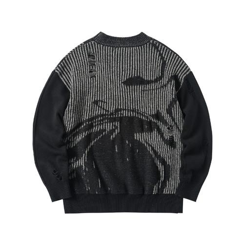 ENSHADOWER隐蔽者新款撞色破坏毛衣男半高领个性暗纹宽松针织衫潮