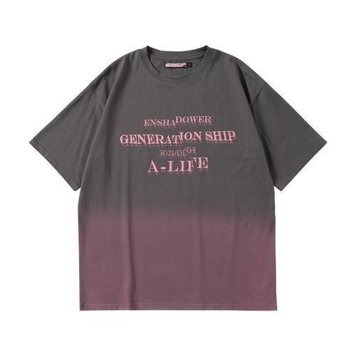 ENSHADOWER隐蔽者潮牌渐变文字重影短袖男宽松半袖夏季情侣T恤