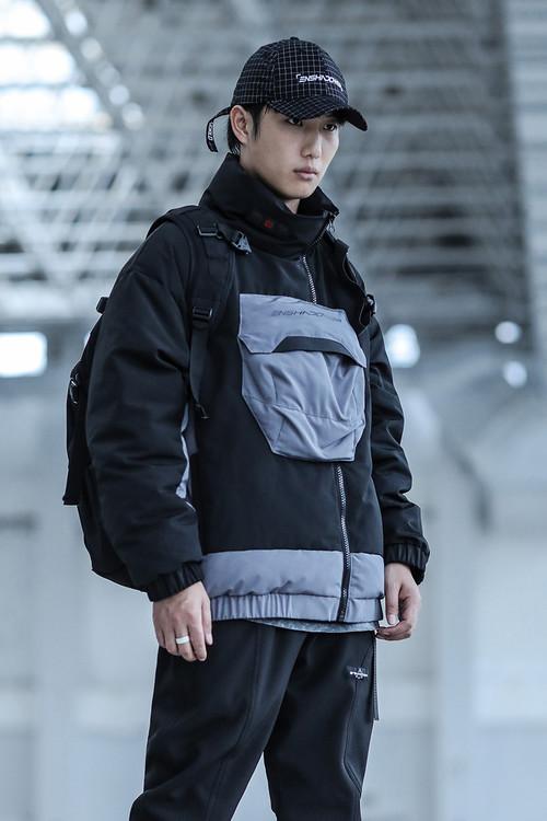 ENSHADOWER隐蔽者大口袋拼接羽绒服国潮冬装拼接加厚男士羽绒衣