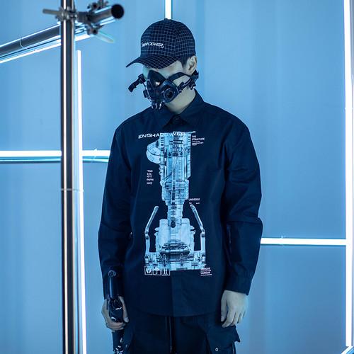 ENSHADOWER隐蔽者机械透视印花衬衫
