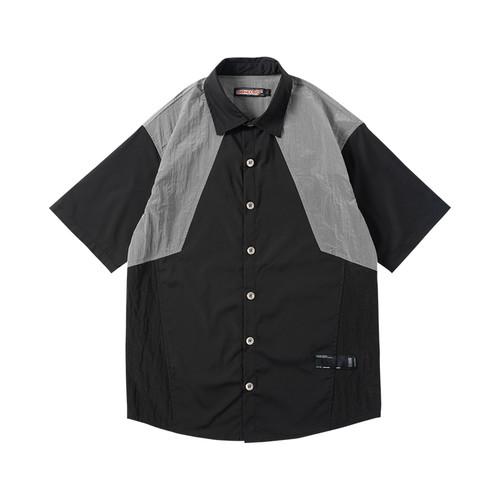 ENSHADOWER隐蔽者夏新款短袖衬衫男金属拼接情侣衬衣五分袖外套潮