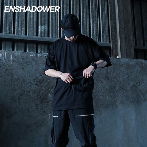 ENSHADOWER隐蔽者国潮口袋拼接短袖T恤男圆领半袖飘带体恤宽松tee