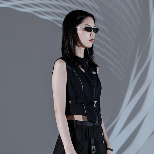 ENSHADOWER隐蔽者夏季新款黑色反光条解构背心女工装无袖坎肩外套