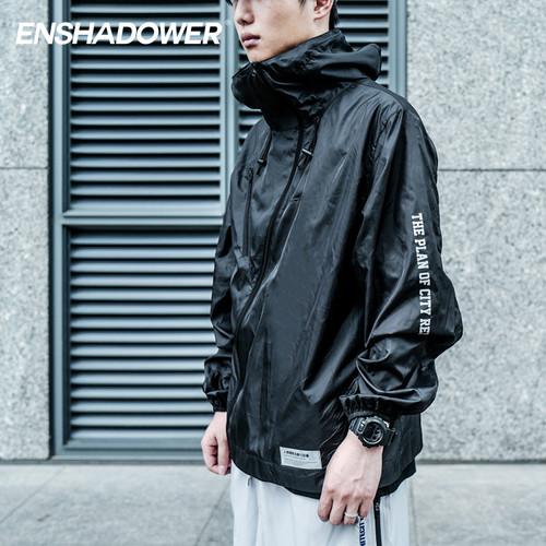 ENSHADOWER隐蔽者薄款潮牌冲锋衣男斜拉链反光印花皮肤衣机能外套