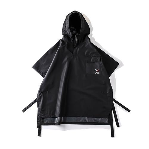 ENSHADOWER隐蔽者机能防水压胶斗篷宽松连帽风衣潮流短袖男装外套
