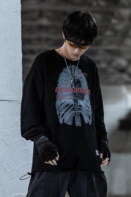 ENSHADOWER隐蔽者新款骨骼印花套头卫衣男潮牌宽松破坏毛边上衣