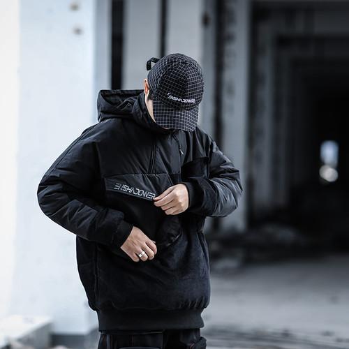 ENSHADOWER隐蔽者新款金属拼接宽松棉衣男工装连帽保暖棉服外套潮
