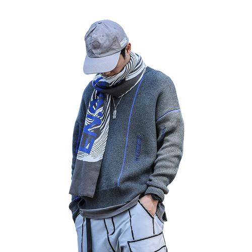 ENSHADOWER隐蔽者潮流破坏毛衣男冬季国潮宽松线衣圆领套头针织衫