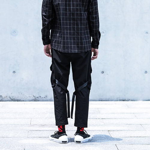 ENSHADOWER隐蔽者机能战术伞兵裤多口袋潮牌九分裤工装嘻哈束脚裤