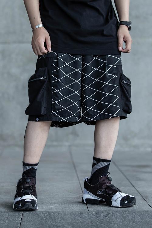 ENSHADOWER隐蔽者国潮格纹拼接口袋短裤男工装中裤休闲运动五分裤