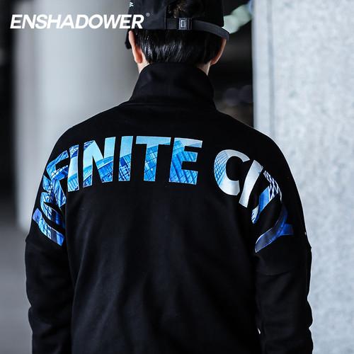 ENSHADOWER隐蔽者新款半拉链印花卫衣男圆领套头潮牌印花黑色上衣