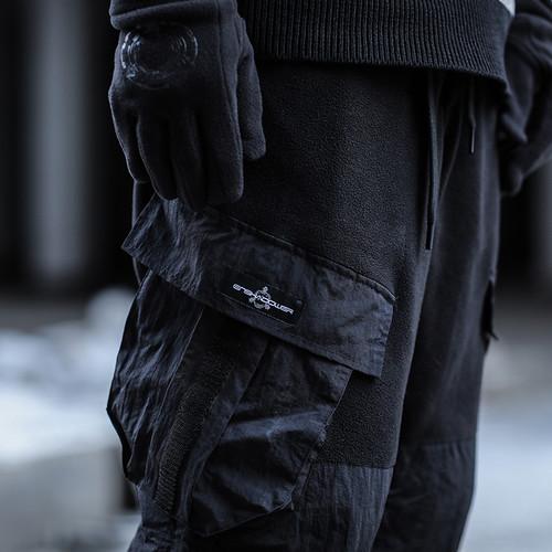 ENSHADOWER隐蔽者冬季摇粒绒拼接运动卫裤男抽绳束脚裤宽松休闲裤