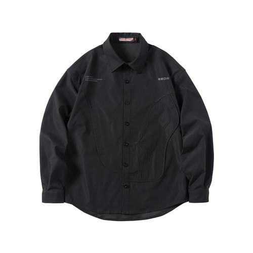 ENSHADOWER隐蔽者黑色曲线层叠衬衫男黑色长袖宽松纯色衬衣外套潮