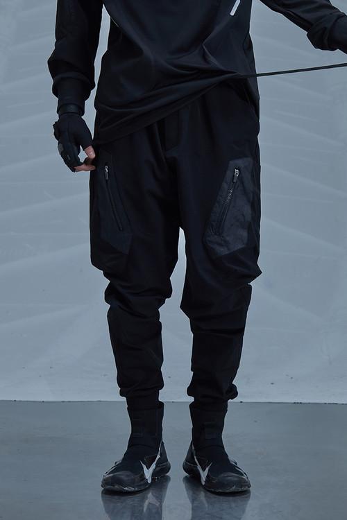 ENSHADOWER隐蔽者春新款黑色异质拼接束脚裤黑色潮流工装休闲裤子