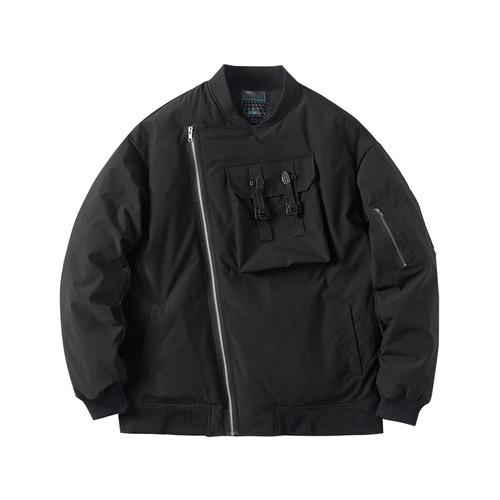 ENSHADOWER隐蔽者冬季新款斜拉链羽绒服男工装加厚飞行员夹克外套