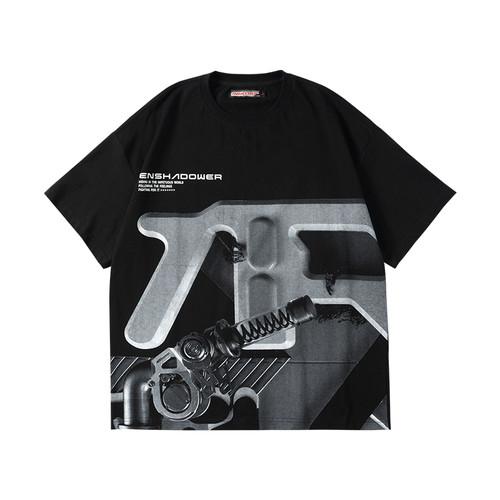 ENSHADOWER隐蔽者机械装置印花短袖T恤男潮牌宽松情侣装半袖上衣