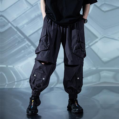 ENSHADOWER隐蔽者皱感户外徒步裤宽松工装可拆卸裤腿两穿束脚裤男