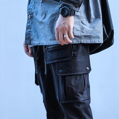 ENSHADOWER隐蔽者潮牌压袋双飘带九分裤男多口袋机能风宽松工装裤