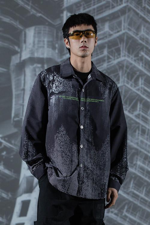 ENSHADOWER隐蔽者粒子波动满印衬衫男春新款潮流宽松长袖衬衣外套