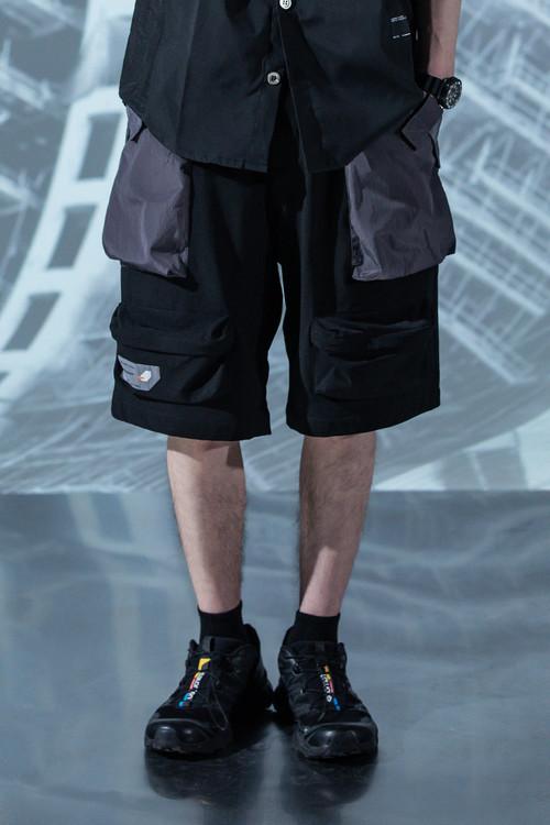 ENSHADOWER隐蔽者夏季亮面拼接多口袋短裤宽松工装五分裤沙滩裤男