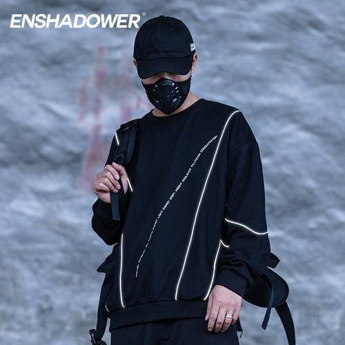 ENSHADOWER隐蔽者潮牌反光条结构卫衣男国潮圆领宽松长袖套头外套