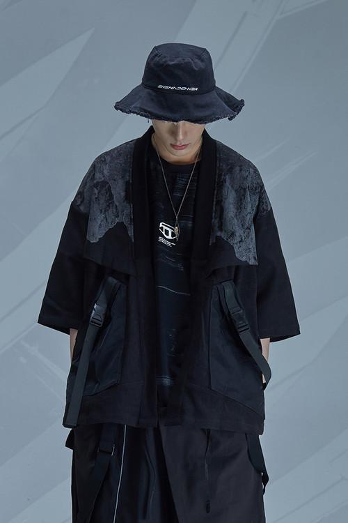 ENSHADOWER隐蔽者山脉印花活页道袍七分袖机能飘带宽松休闲外套潮