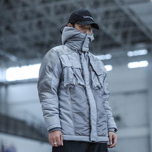 ENSHADOWER隐蔽者反光条温变拼接棉衣男冬季潮牌连帽加厚棉服外套
