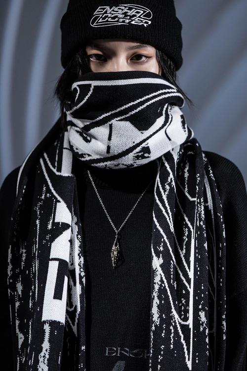ENSHADOWER隐蔽者纹理异变印花针织围巾毛线冬季保暖情侣男女围脖