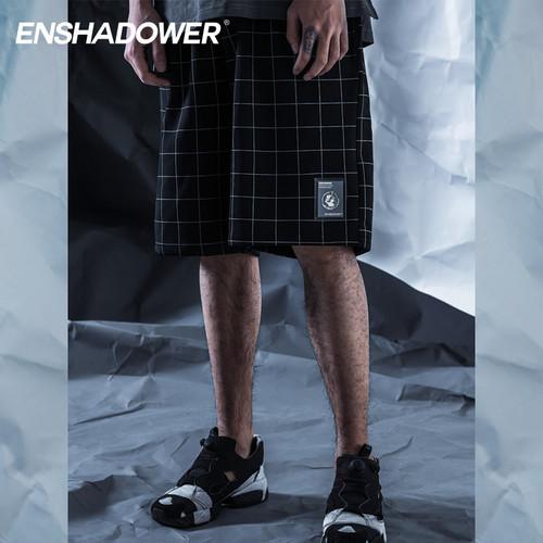 ENSHADOWER隐蔽者黑白格子速干短裤夏季运动潮牌五分裤宽松中裤男