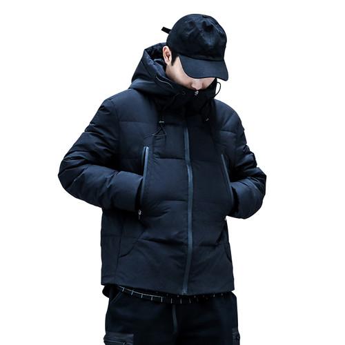 ENSHADOWER隐蔽者冬季斜拉链基础羽绒服潮流冬季黑色连帽保暖外套