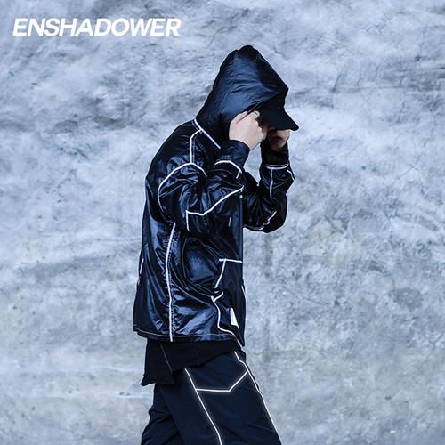 ENSHADOWER隐蔽者国潮亮面皮肤衣连帽长袖夹克潮流机能宽松外套男