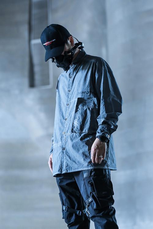 ENSHADOWER隐蔽者潮牌重工洗旧衬衫男复古休闲衬衣宽松长袖外套潮