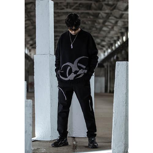 ENSHADOWER隐蔽者黑色半立体拉链牛仔裤男修身潮牌宽松休闲长裤