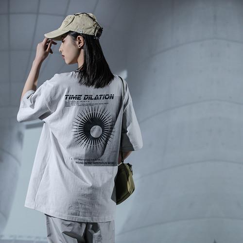 ENSHADOWER隐蔽者夏新款个性印花短袖男宽松五分袖情侣T恤新疆棉