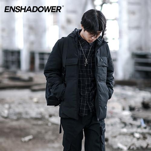 ENSHADOWER隐蔽者冬季男士连帽短款羽绒服大口袋加厚潮牌棉服外套