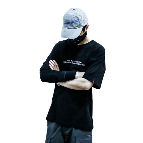 ENSHADOWER隐蔽者2017SS反光长条印花短袖男 宽松圆领潮牌休闲T恤