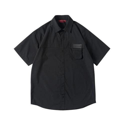 ENSHADOWER隐蔽者国潮新品活页口袋短袖衬衫男翻领黑色宽松衬衣夏
