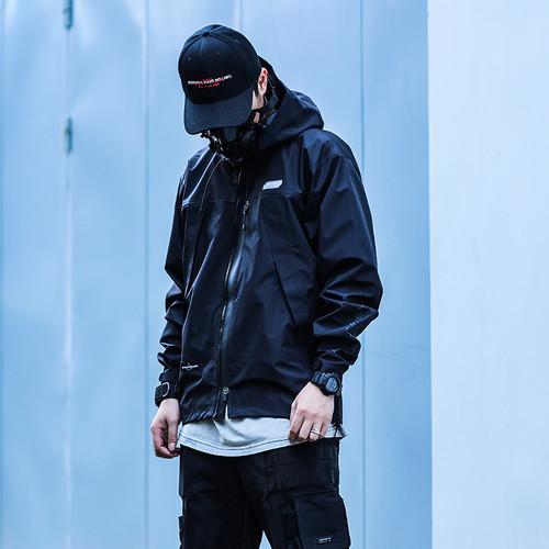 ENSHADOWER隐蔽者潮牌压胶冲锋衣男宽松黑色夹克连帽工装休闲外套