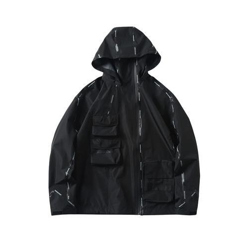 ENSHADOWER隐蔽者潮牌不规则反压胶冲锋衣夹克男连帽黑色休闲外套