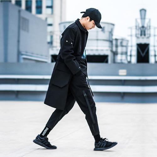 ENSHADOWER隐蔽者秋季中长款压胶风衣可拆卸过膝夹克潮牌男士外套