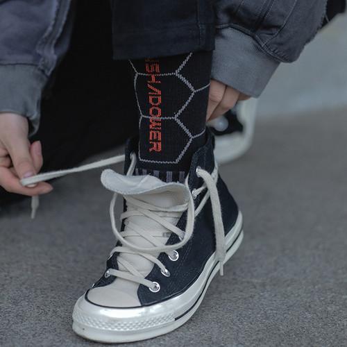ENSHADOWER隐蔽者男士袜子蜂巢粒子印花中筒袜秋冬季透气吸汗男袜