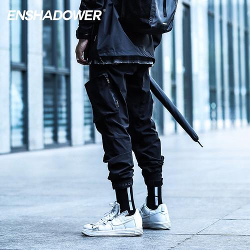 ENSHADOWER隐蔽者&COMBACK联名款束脚裤黑色多口袋休闲裤工装裤男