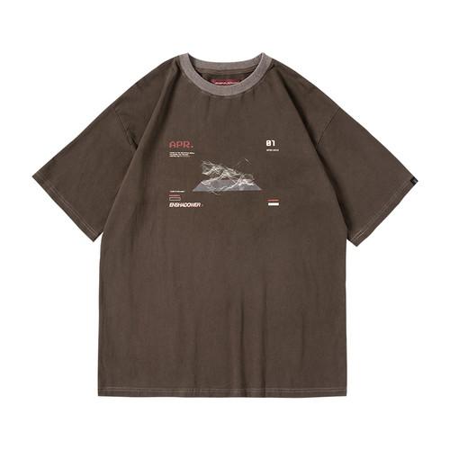 ENSHADOWER隐蔽者新款等高线印花短袖T恤男潮流宽松体恤打底衫夏