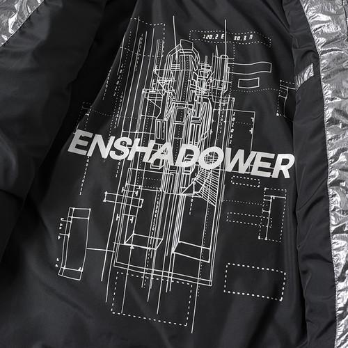 ENSHADOWER隐蔽者冬季加厚银色亮面棉衣潮牌宽松休闲连帽棉服外套